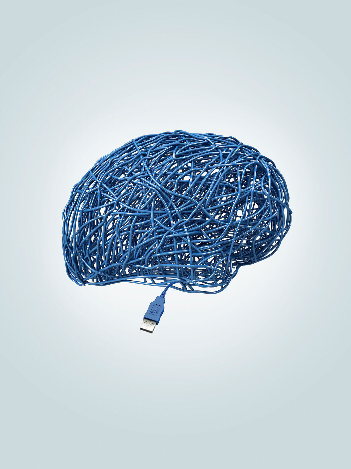 Kunstwerk van blauwe draden in de vorm van hersenen